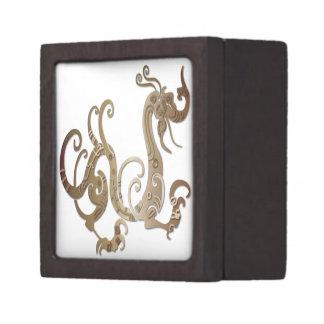 Bronze Stylized Chinese Dragon Jewelry Box