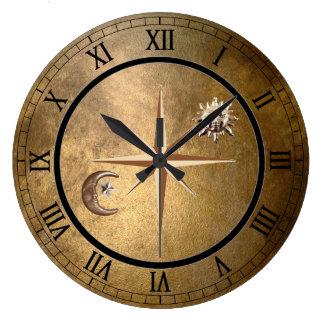 bronze sun and moon wall clock