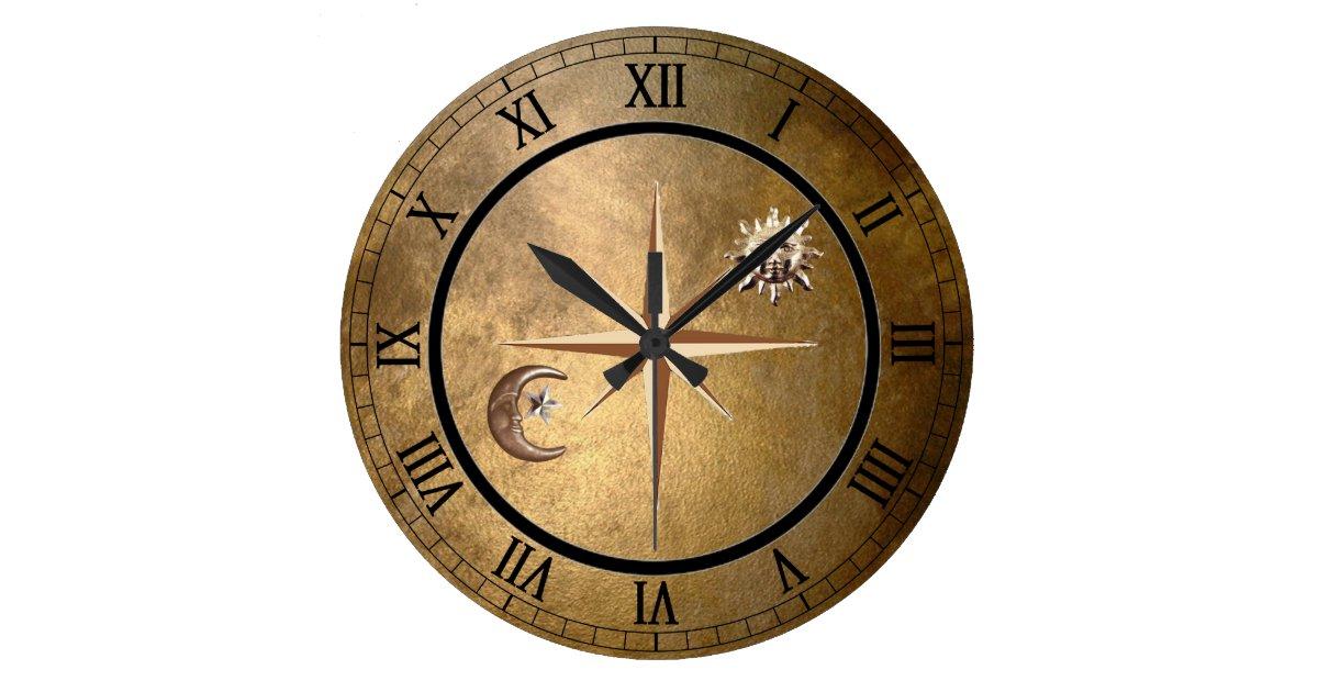 Bronze Sun And Moon Wall Clock Zazzle