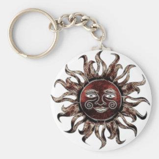 Bronze Sun Fractal Basic Round Button Keychain