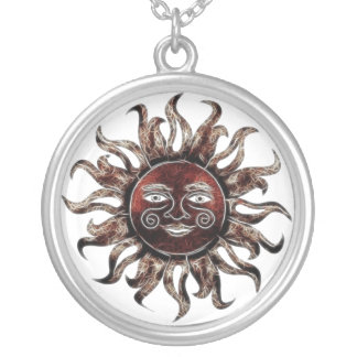 Bronze Sun Fractal Round Pendant Necklace