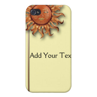 Bronze Sun on Cream Background Cases For iPhone 4