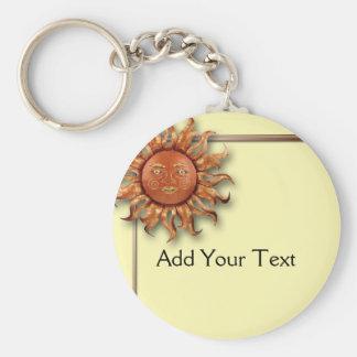 Bronze Sun on Cream Background Keychain