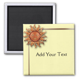Bronze Sun on Cream Background Magnets