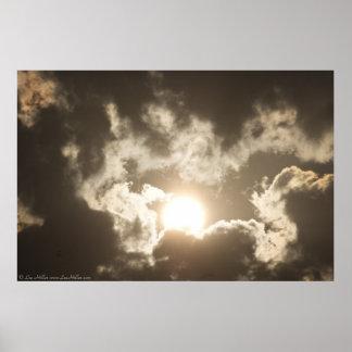 Bronze Sunrise Storm Clouds Poster