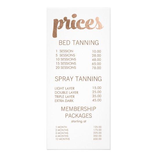 Bronze tanning salon menu price list cards - Tanning salons prices ...