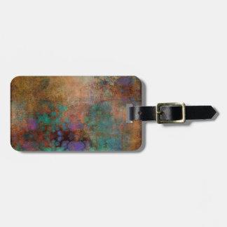 Bronze, Teal, Purple Abstract Bag Tag