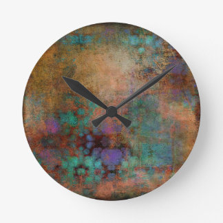 Bronze, Teal, Purple Abstract Round Clock