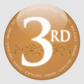 Bronze Third Place (3rd) Award Classic Round Sticker