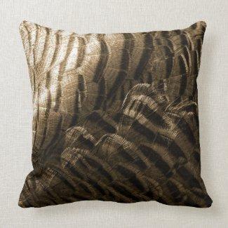 Bronze Tone Turkey Feather Texture Light Dark Throw Pillow