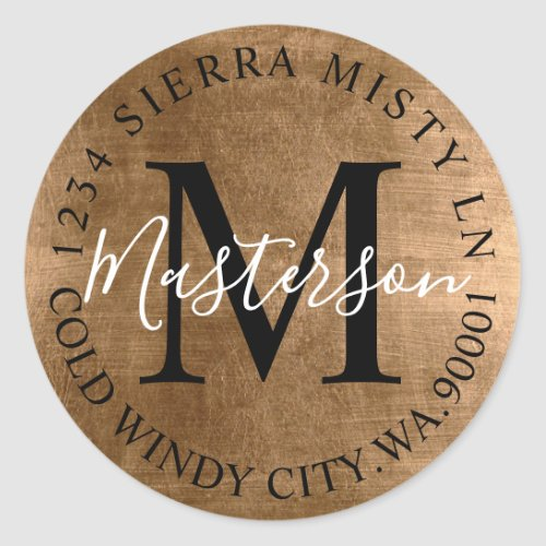 Bronze Tones Elegant Return Address Monogram Classic Round Sticker