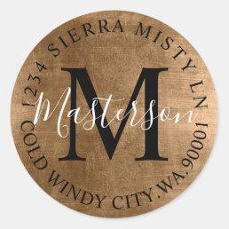 Bronze Tones Elegant Return Address Monogram Classic Round Sticker