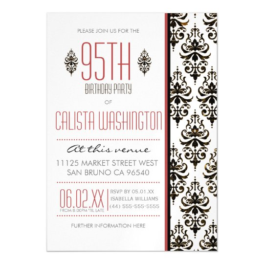 Bronze Vintage Damask 95th Birthday Party Magnetic Invitation