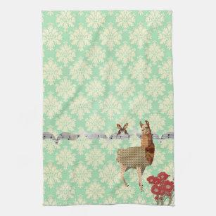 Bronze Vintage Llama U0026 Butterfly Mint Julep Damask Kitchen Towel