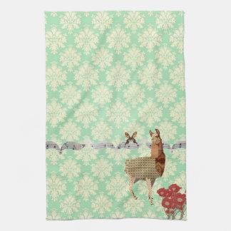 Bronze Vintage Llama & Butterfly Mint Julep Damask Kitchen Towels