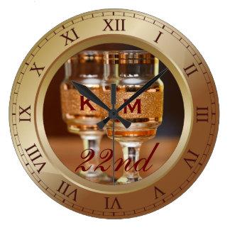 Bronze Wedding Anniversary Copper Gold Brown Photo Large Clock