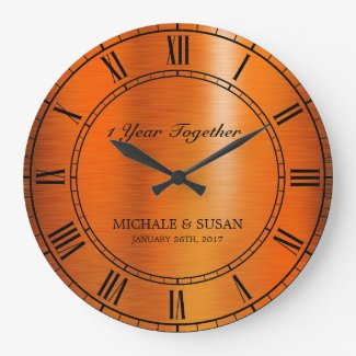 Bronze Wedding Anniversary (Personalize) Large Clock