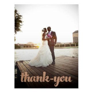 Bronze Wedding Thank You Script Photo Postcard