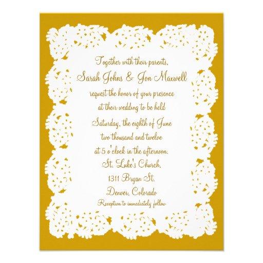 "Bronze White Lace Doily Wedding Invitation 4.25"" X 5.5"