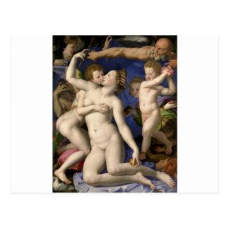Bronzino: Venus, Cupid, locura y tiempo Tarjeta Postal