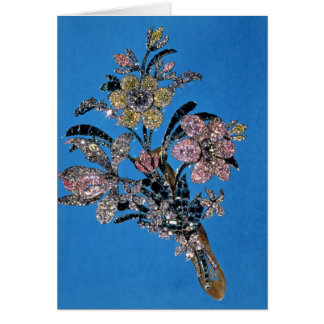 Brooch in form of large bouquet with brilliant card
