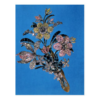 Brooch in form of large bouquet with brilliant postcard