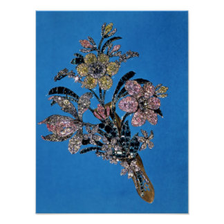 Brooch in form of large bouquet with brilliant poster