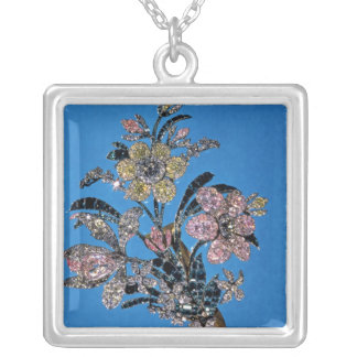 Brooch in form of large bouquet with brilliant silver plated necklace