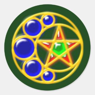 brooch media luna estrella brosche crescent star pegatina redonda