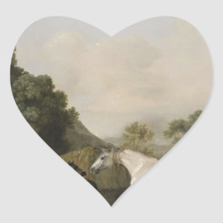 Brood Mares and Foals by George Stubbs Heart Sticker