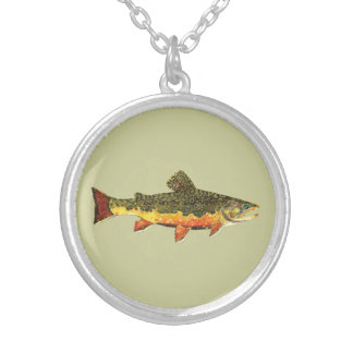 Brook Trout Fish Painting Round Pendant Necklace