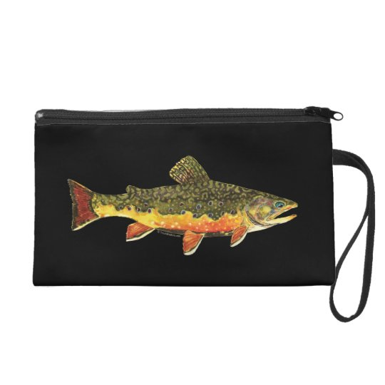 Brook Trout Fish Painting Wristlet