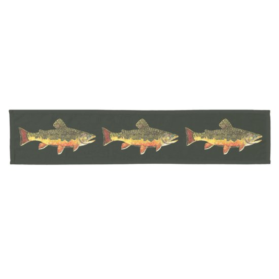 Brook Trout Fish Short Table Runner