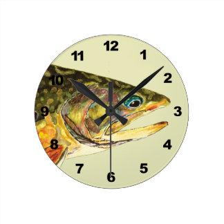 Brook Trout Fisherman Round Clock