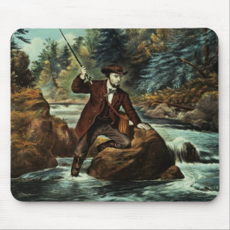 Brook Trout Fishing - An Anxious Moment, 1862 Mouse Pad