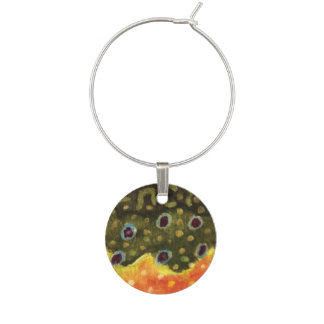 Brook Trout Fishing Wine Charm