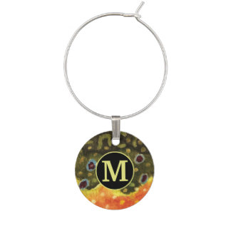 Brook Trout Fishing Wine Glass Charm