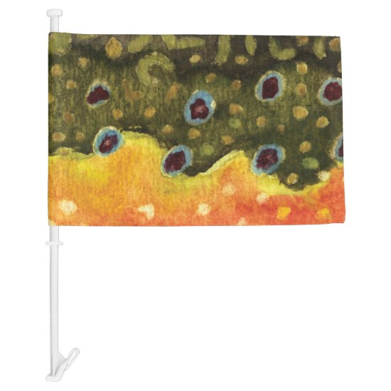 Brook Trout Fly Fishing Fisherman's Car Flag