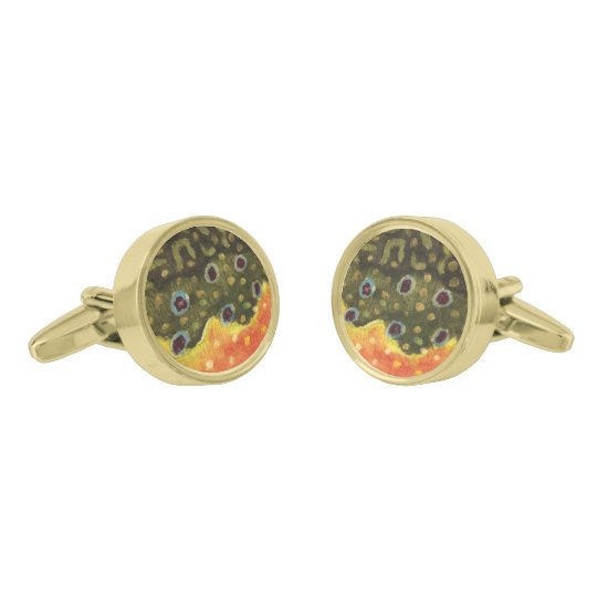 Brook Trout Fly Fishing Gold Cufflinks