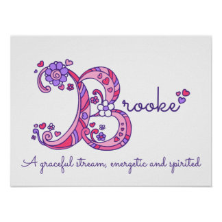 Brooke B initial doodle art name meaning Poster