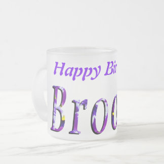 Brooke, Happy Birthday Logo, Frosted Beer Glass. Frosted Glass Coffee Mug