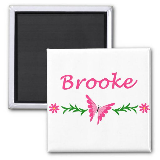 Brooke (Pink Butterfly) 2 Inch Square Magnet
