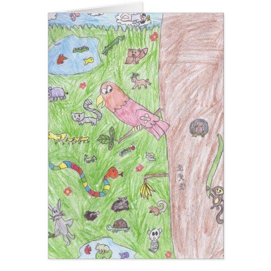 Brooke's world of animals greeting card