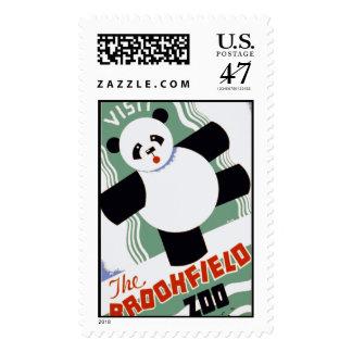 Brookfield Zoo Panda Vintage WPA Stamps