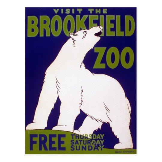 Brookfield Zoo Polar Bear Vintage WPA Poster Postcard