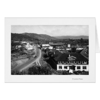 Brookings, Oregon Town View and Ocean Photograph Card