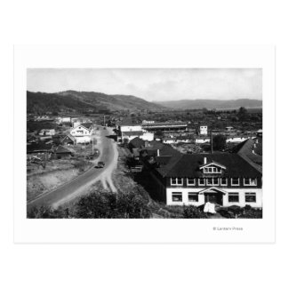 Brookings, Oregon Town View and Ocean Photograph Postcard