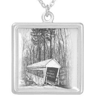 Brookline, NH  Covered  Bridge Sketch Square Pendant Necklace