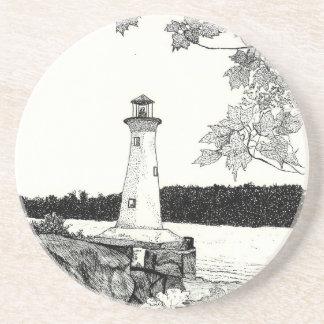 Brookline NH Lighthouse Sketch Coaster