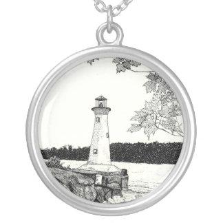 Brookline, NY Lighthouse Sketch Round Pendant Necklace